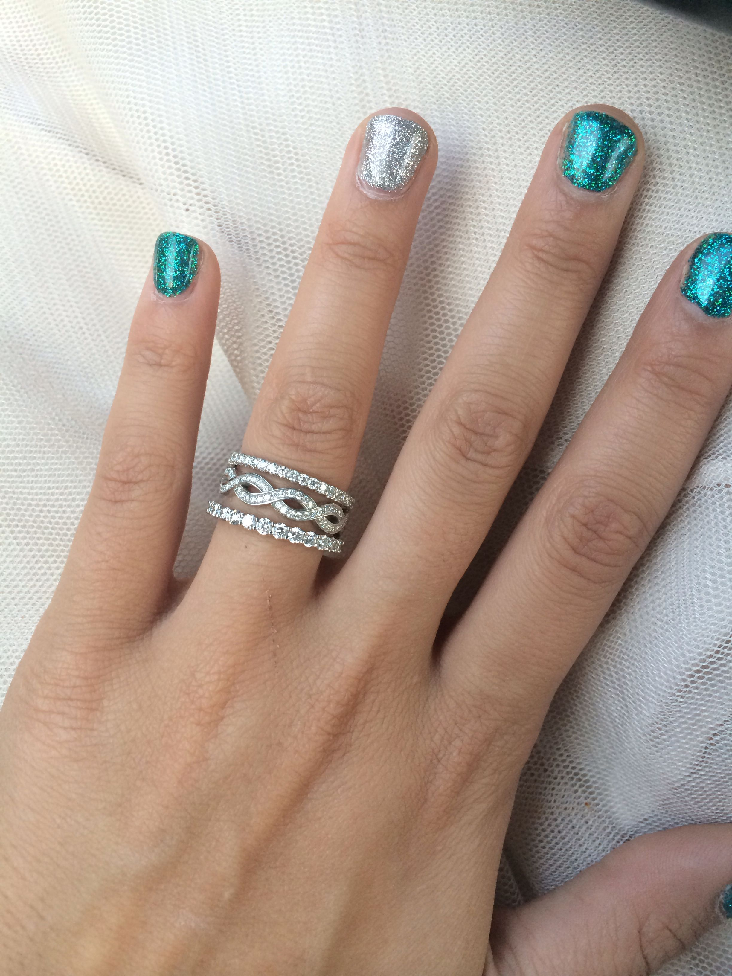 Stackable Engagement Ring With One Infinity Band