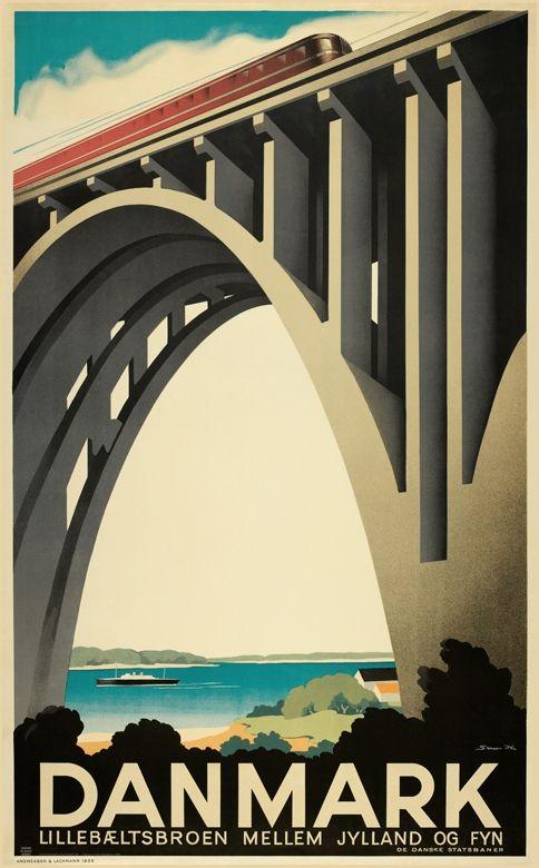 Lillebaeltsbroen Danmark Rejseplakat Danmark Plakater