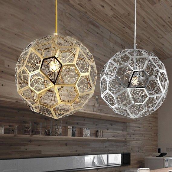 Modern Geometric Hollowed Out Globe 1 Light Pendant Light Chrome