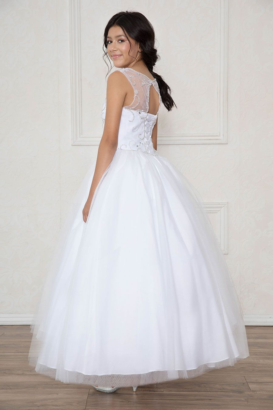 Long length girls pageant dress with open corset back