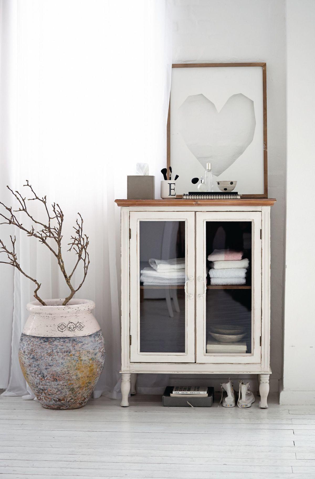 vitrinenschrank, 2 fächer, shabby chic | schränke | möbel | living, Wohnzimmer dekoo