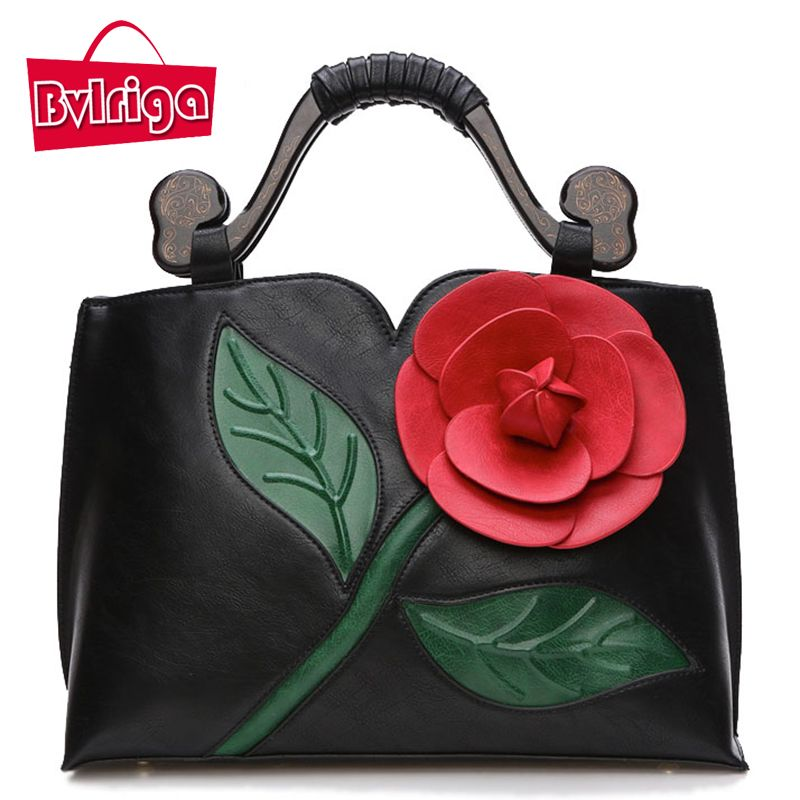 BVLRIGA Bags handbags women famous brands women leather handbags women messenger bags shoulder bag flowers Vintage big totes