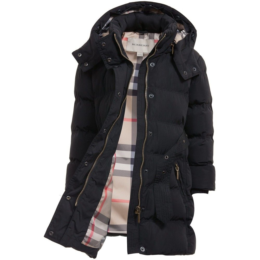Burberry - Girls Hooded Black Puffer Coat with Fur Trim | #JACKETS ...