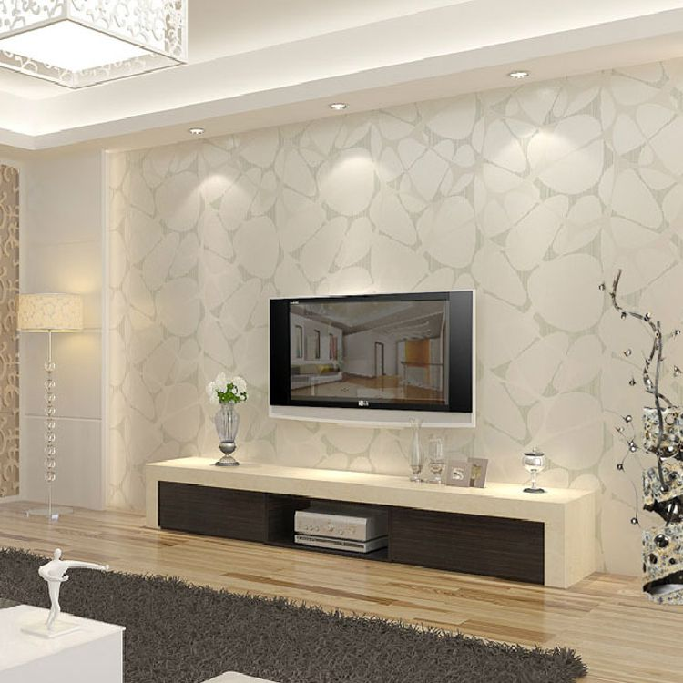 T Non Woven Wallpaper Modern Brief Pearl Silver Bird Nest Tv