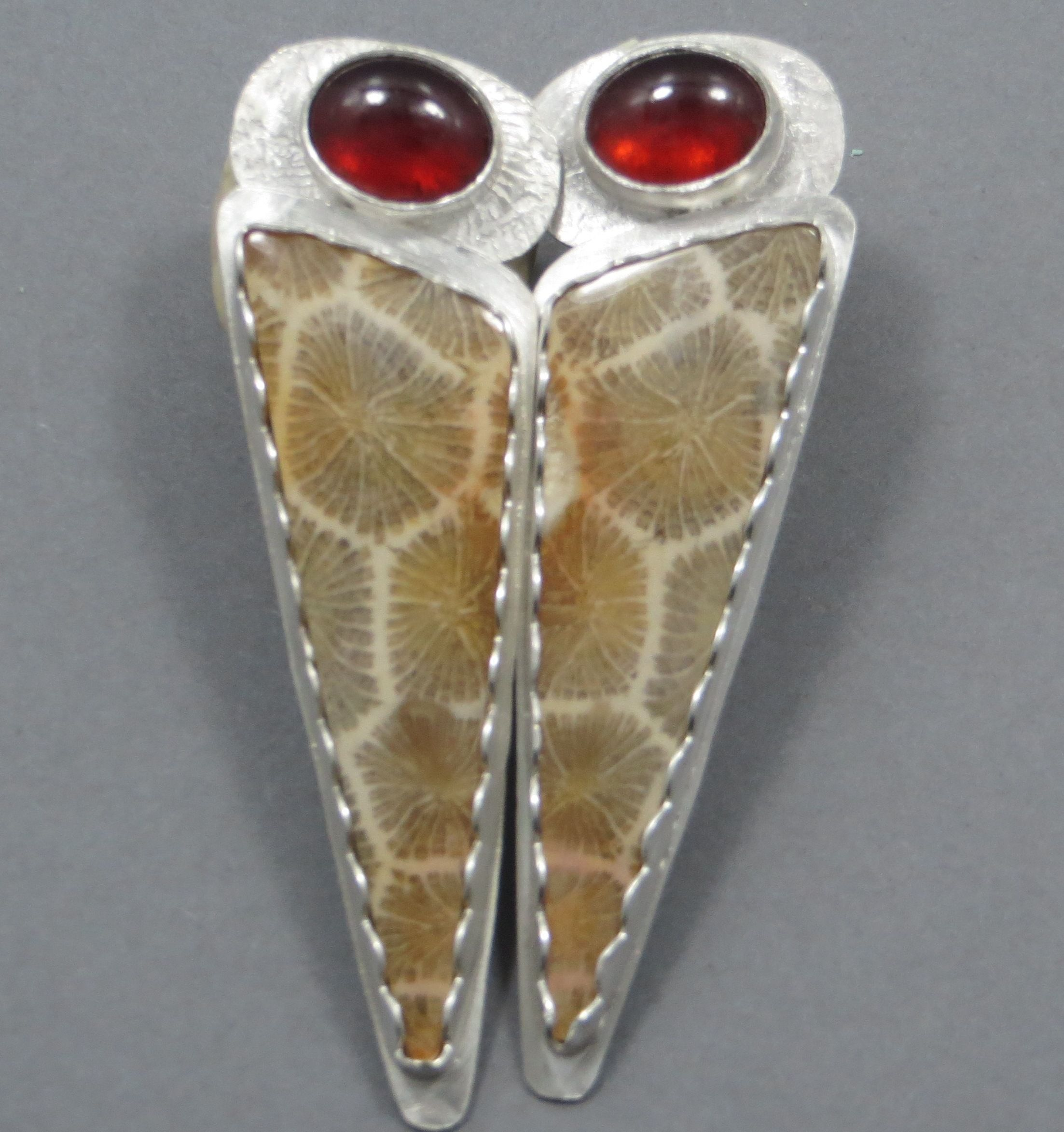Fine silver earrings fossilized coral and garnets