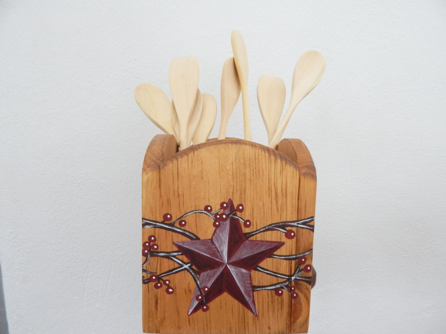 Kitchen Utensil Holder, Wooden Utensil Holder, Holder For Utensils,  Primitive Decor,primitive