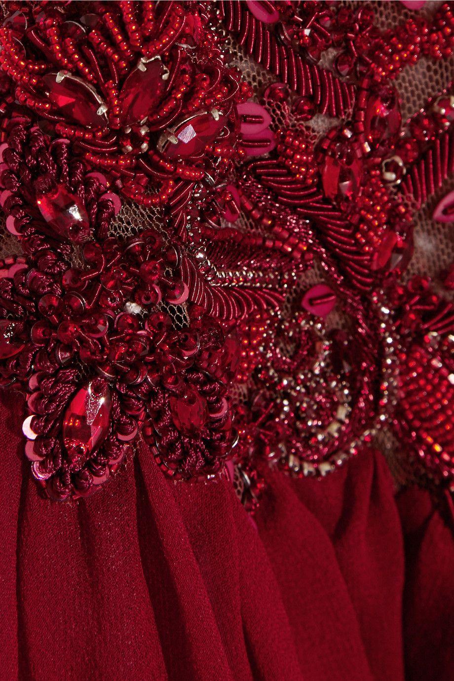 Marchesa|Embellished silk-chiffon gown|NET-A-PORTER.COM