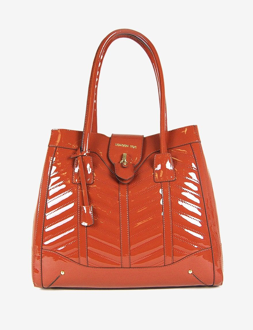 This orange tote works from Spring to Fall. London Fog Lark Patent Tote