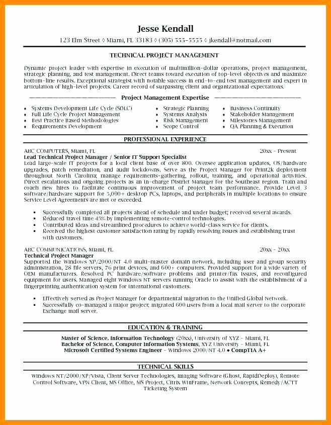 25 Project Manager Resume Sample Doc in 2020 Project