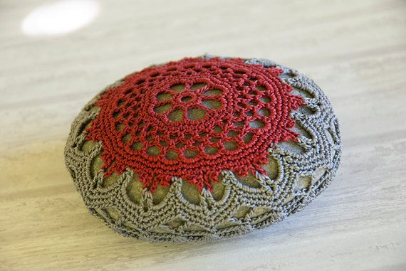 crochet lace stone, crochet covered rock, tabletop decor, brick, charcoal, bowl element, paperweight, fiber art object, autumn wedding