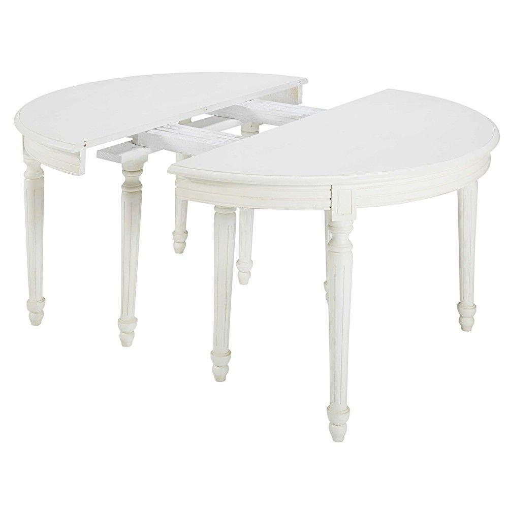 Mesa de comedor redonda extensible de madera blanca Diam. 120 cm ...
