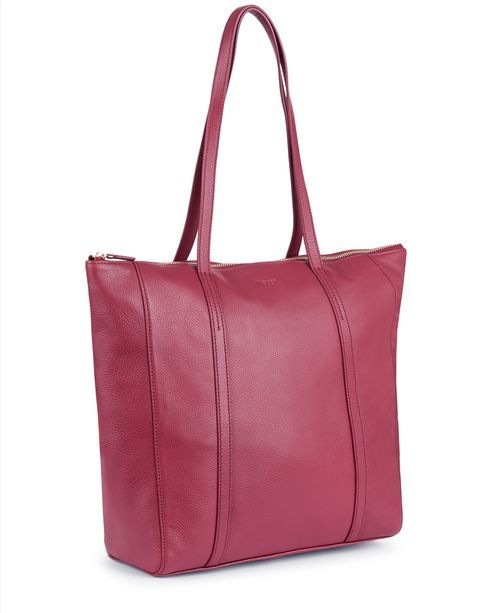 Julianne Leather Tote - Cherry - Detail Product Image