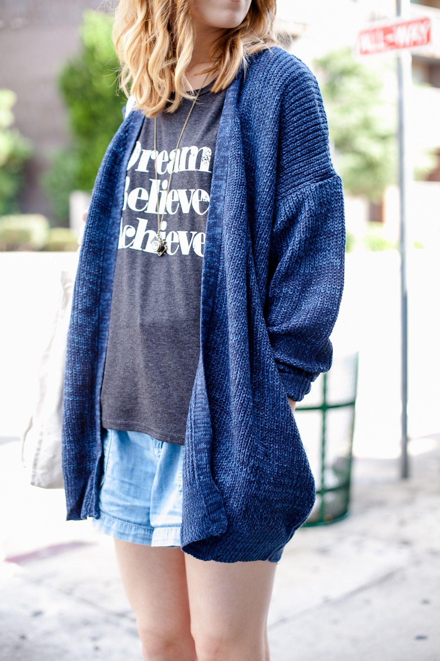 Navy Long Sleeve Loose Knit Cardigan SheIn(Sheinside
