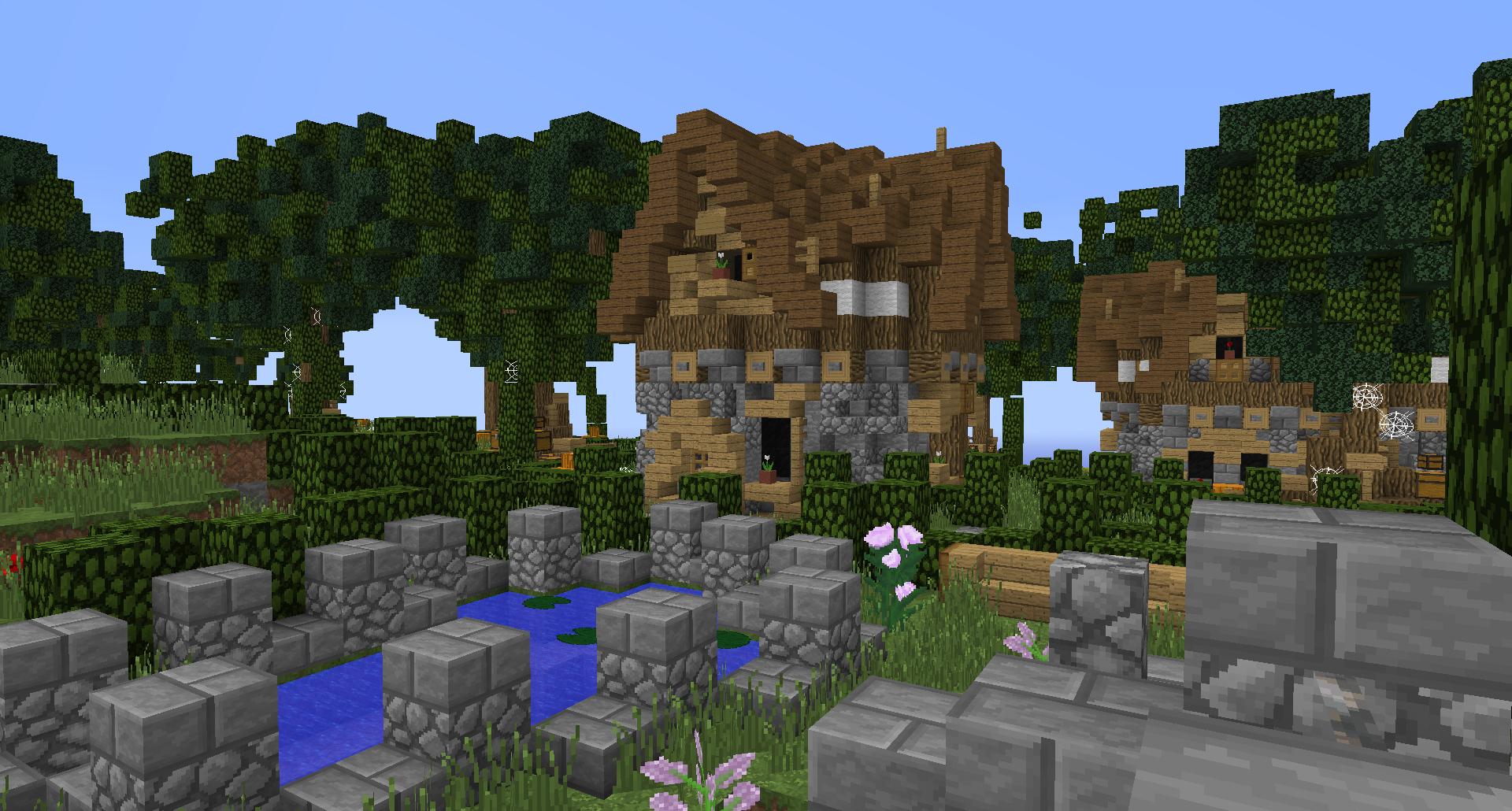 #minecraft #buildings #simple #fantasy #lollyherz #village #house #garden #steampunk #build #fantasygarden #pond