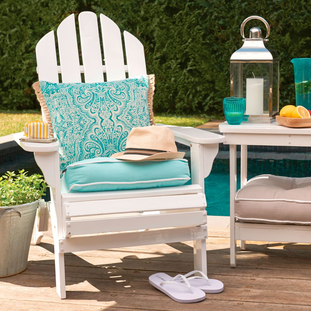 ADIRONDACK CHAIR WHITE Patio chair cushions, White