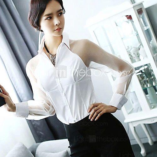 De las mujeres Camisa Cuello Camisero - Malla - Manga Larga - USD   19.99 99d84f3fe80