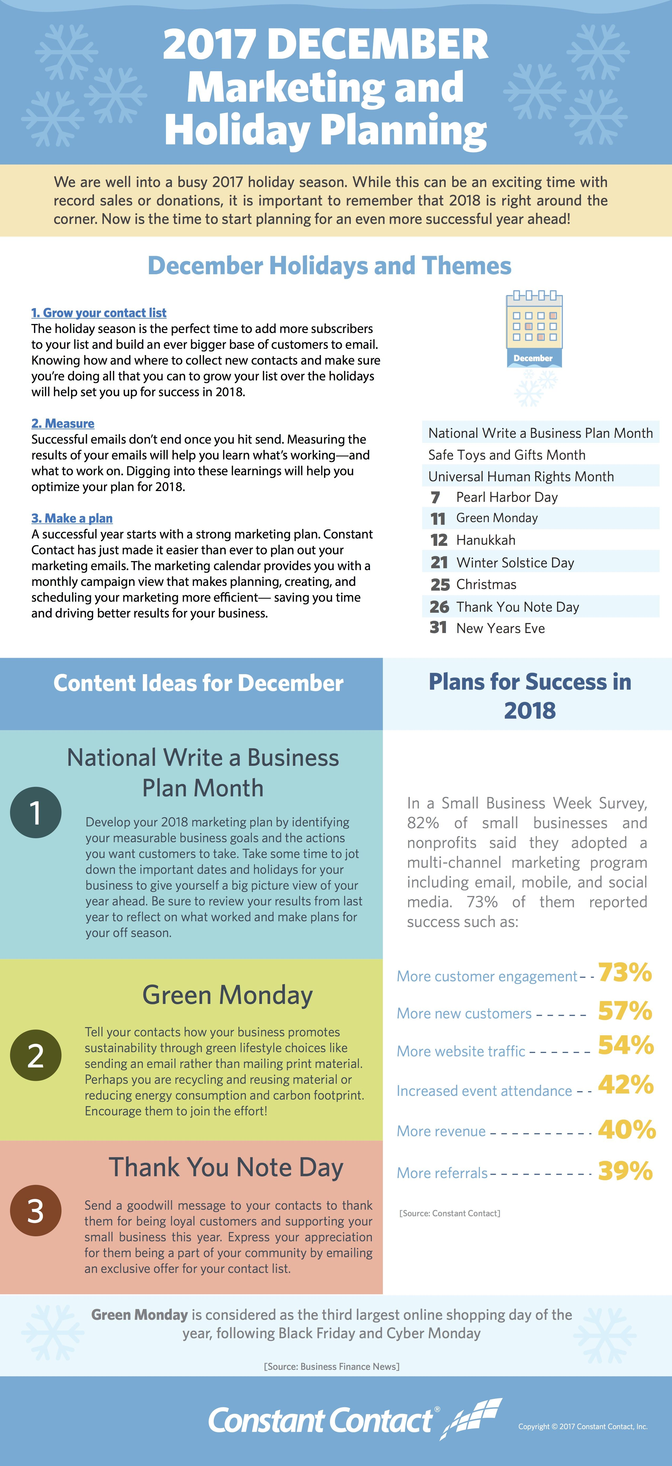 December  Marketing And Holiday Planning  Infographic