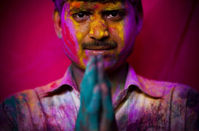 Holi, the Hindu festival of colour and spring. Great image.