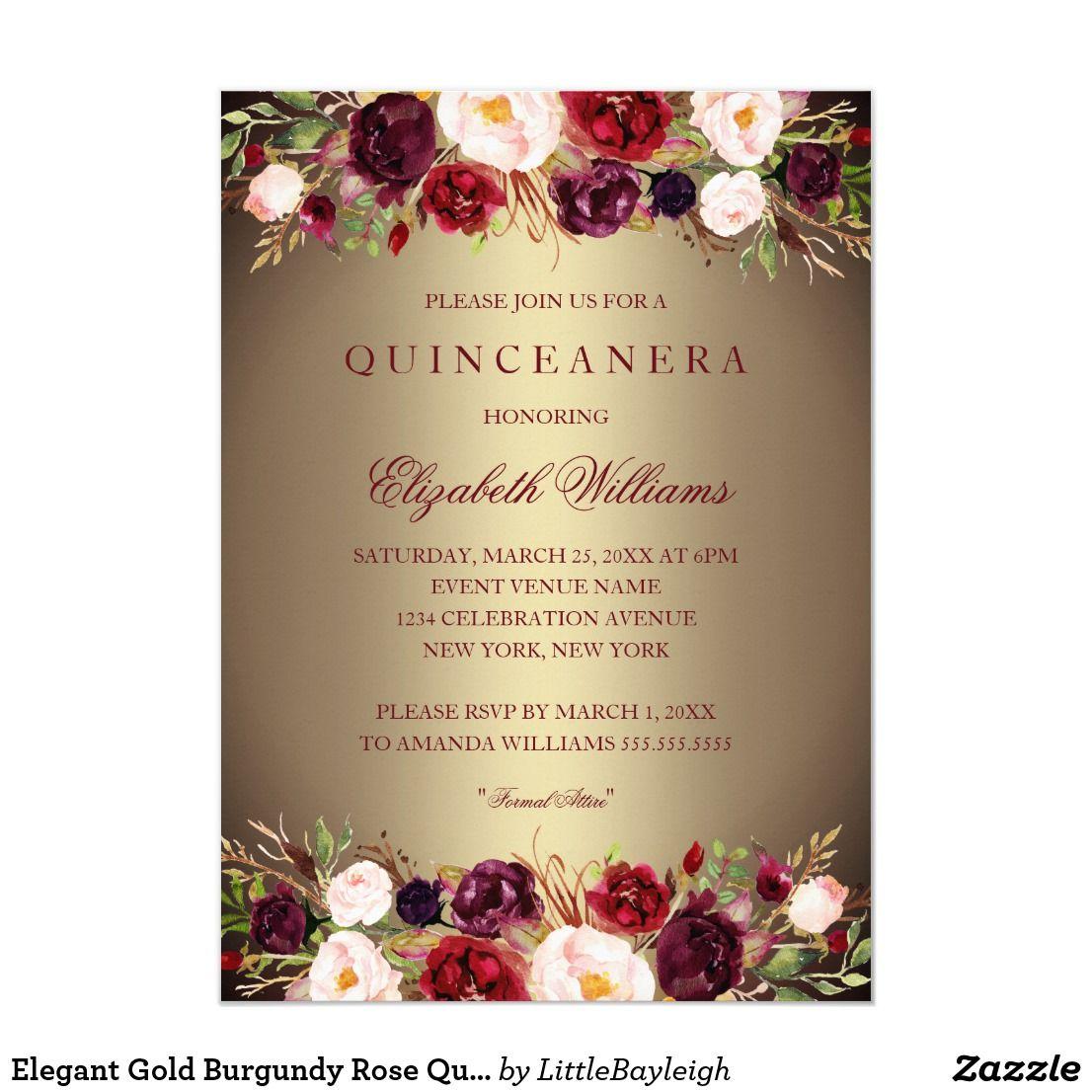 Elegant Gold Burgundy Rose Quinceanera Invite