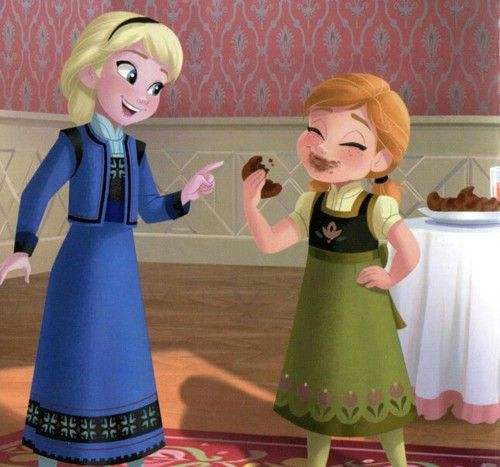 Young Anna And Young Elsa Eating Chocolates Disney Princess Fashion Disney Frozen Elsa Princess Pictures