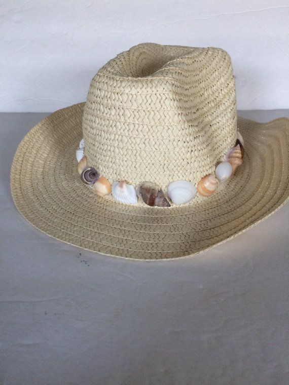 ae6891c5 Summer Straw Floppy Hat hand decorated with sea shells #SeaShells  #StrawHatby HochePotBoutique