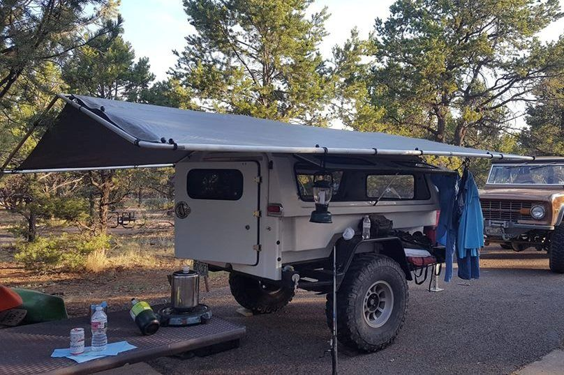 Nice Fiberglass Contractor Canopy Slide On Camper Trailer Example With A Jumbo Wrap Around Awning Photo By Camping Trailer Slide In Camper Diy Camper Trailer