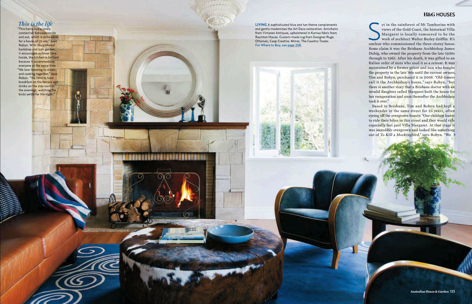 art deco style living room featured in house and garden australia