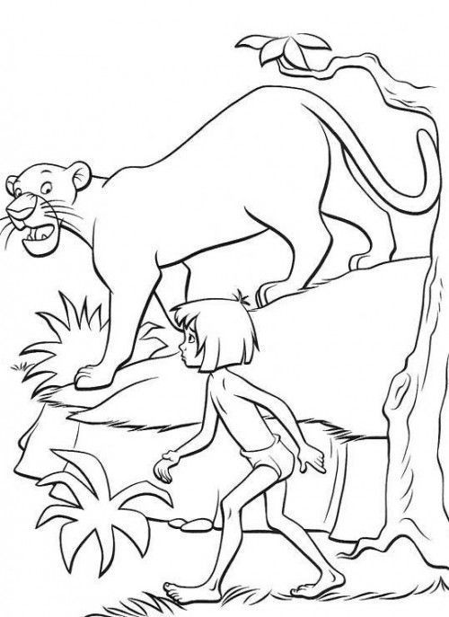 coloring page disney coloring pages pinterest mowgli coloring pages jungle book mowgli with bagheera coloring pages