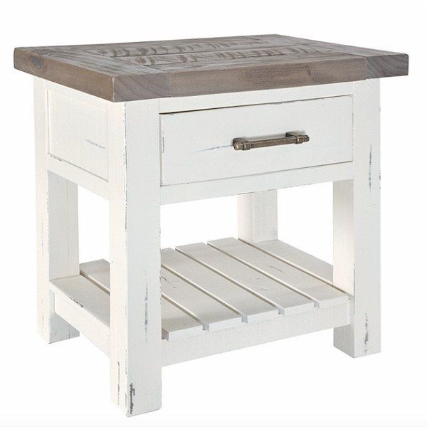 Dorset Purbeck Reclaimed Wood Bedside Table Modish Living White Painted With Top