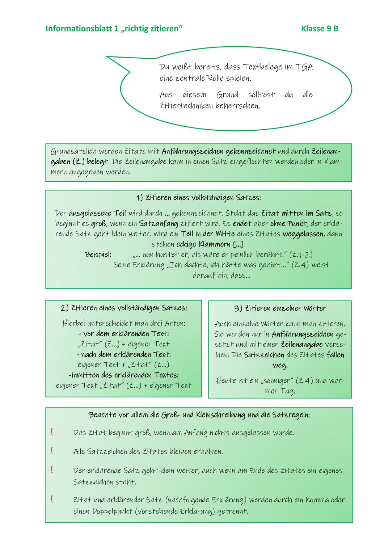 Schlusswort Im Tga Richtig Zitieren Unterrichtsmaterial Im Fach Deutsch Richtig Zitieren Zitieren Zitate