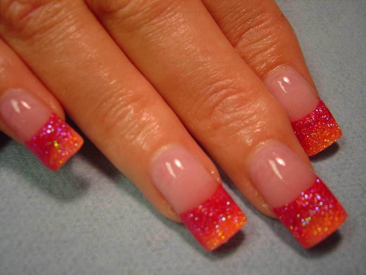Sunshine French Glitter Fade Nail Art | nails | Pinterest | Glitter ...
