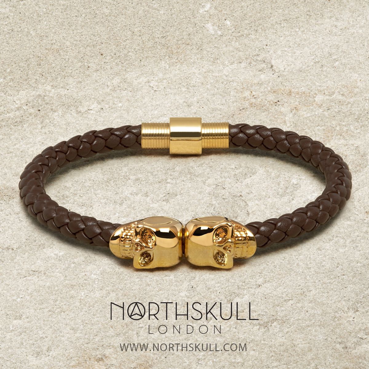 jewelry mens north kt leather lyst northskull bracelet twin and nappa gold skull black