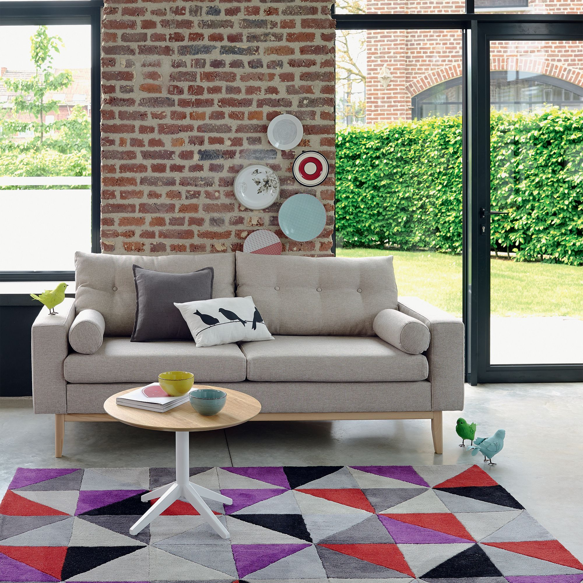canap vintage fixe cru kenora alinea living room. Black Bedroom Furniture Sets. Home Design Ideas