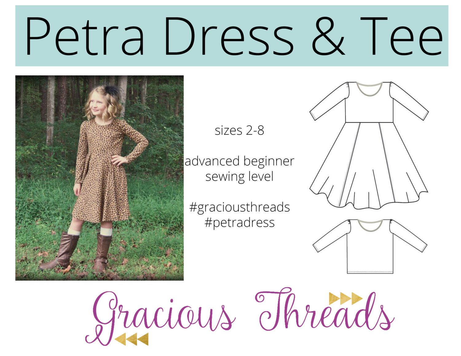 Petra Dress and Tee PDF sewing pattern 2T-8 by sewgraciousthreads on ...
