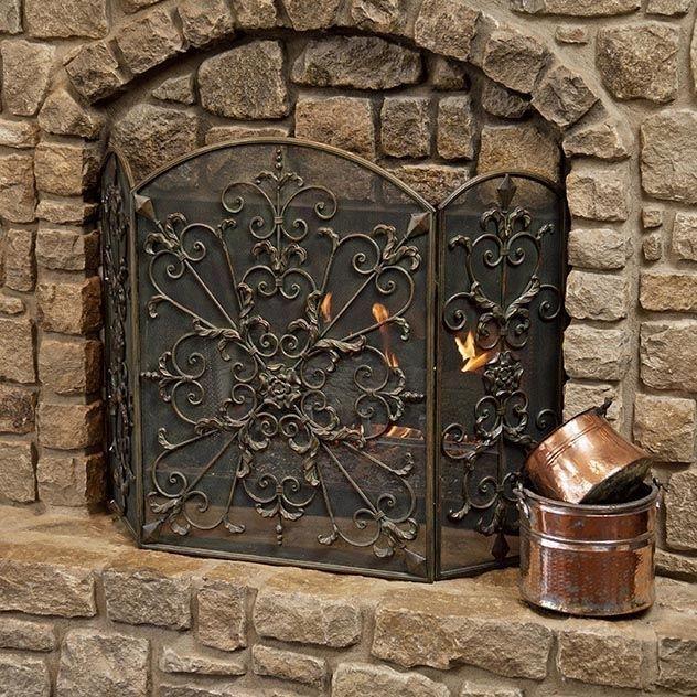 Tuscan Scroll Brown Wrought Iron Metal Mesh Royal Fireplace Screen Tri Fold