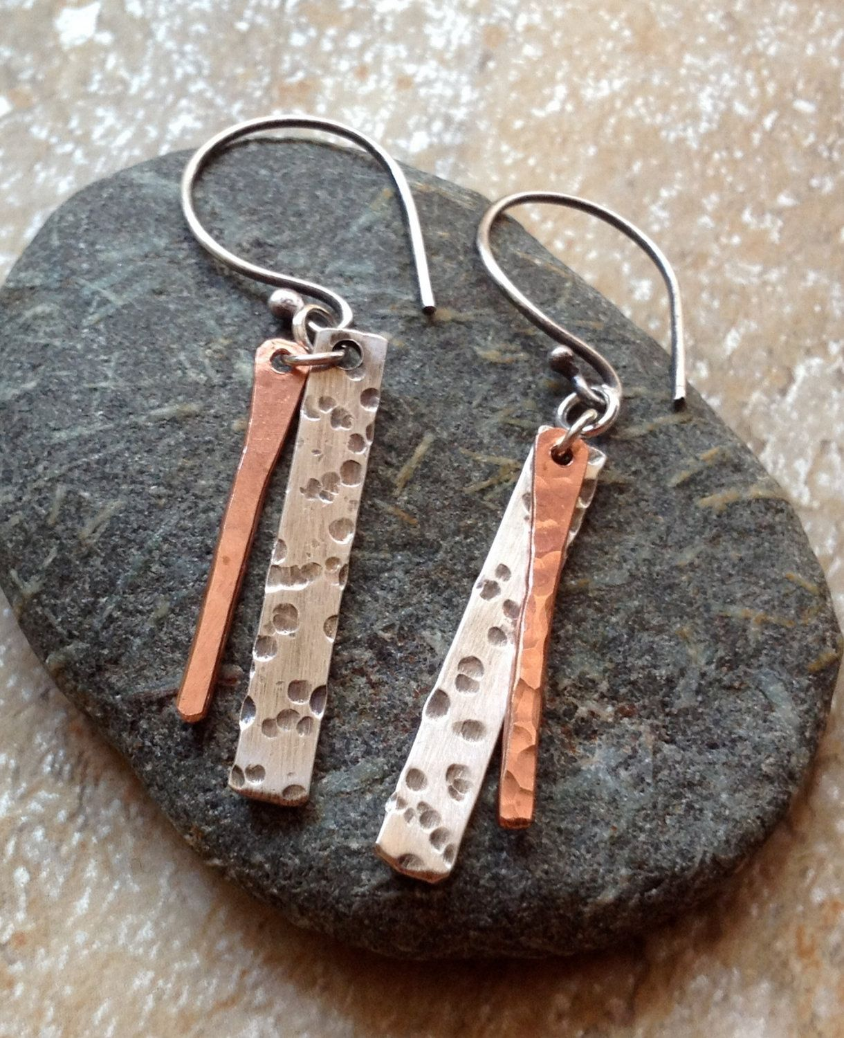 Hand Forged Mixed Metal Earrings Silver And Copper Dangles Rustic Handcrafted Jewelry