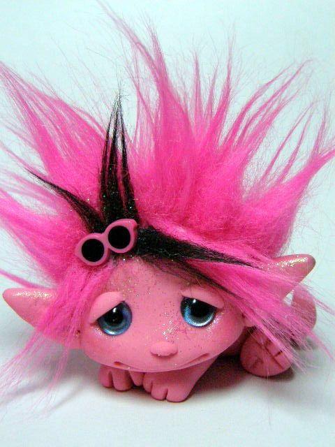 OOAK Pink ROCKER Dragon Trollfling Troll Nikki by by Trollflings, $85.00