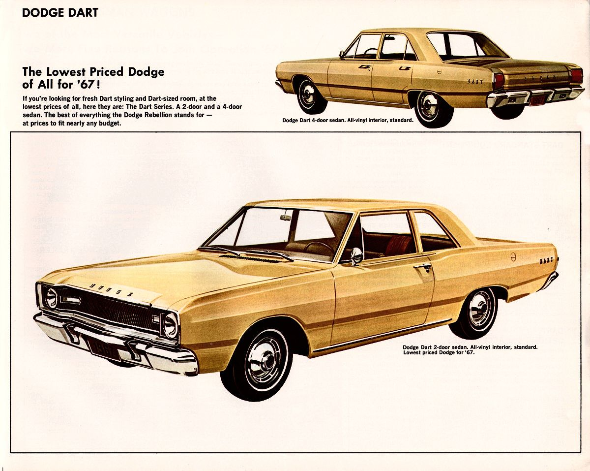 1967 Dodge Dart 2 And 4 Door Sedans Classic Cars Muscle Dodge