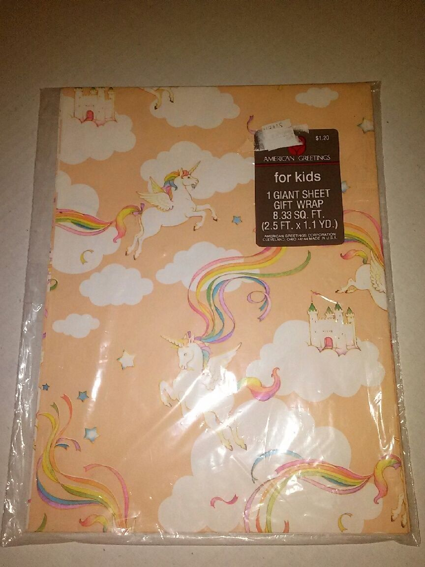 Vintage Unicorn Gift Wrapping Paper American Greetings Rainbow New