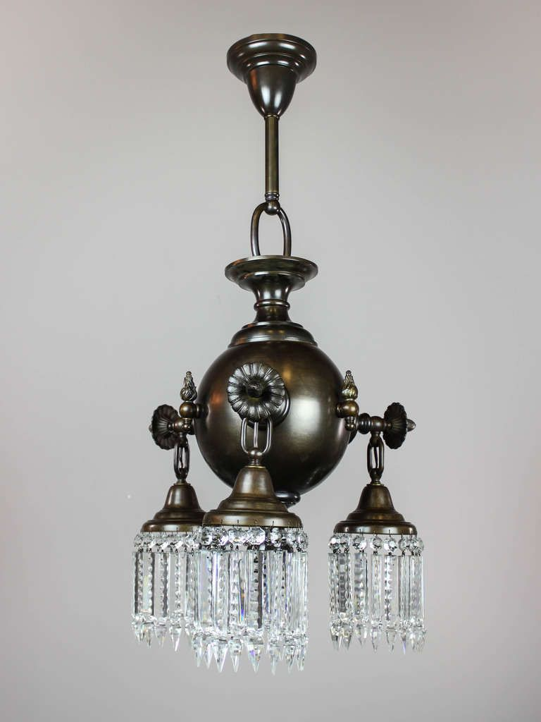 Colonial combination gas electric crystal fixture pair available 1915 rare pair of combination gaselectric crystal light fixtures converted to full electric with capped emergency gas light valves each fixture arubaitofo Images