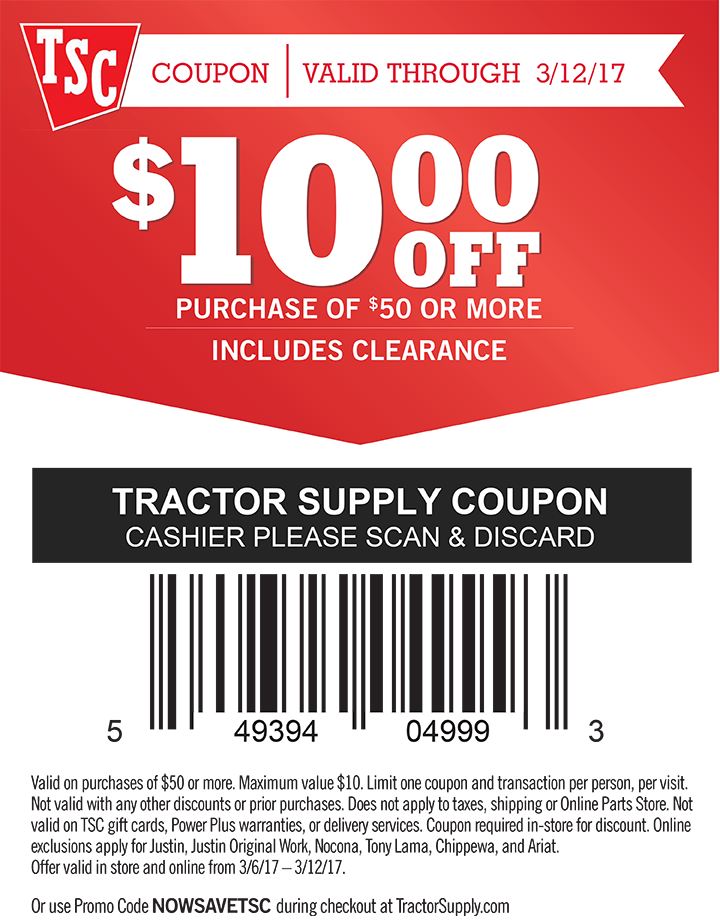 Tractor Supply coupon 10 OFF 50+, in stores or online