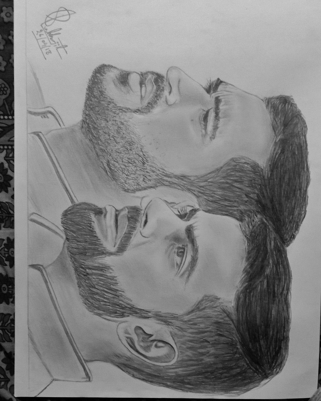 Ms dhoni and virat kholi pencil sketch by subhajit bhattacharjee