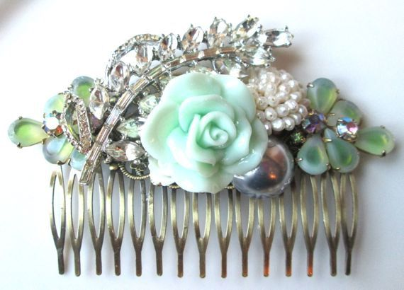 Bridal Hair Comb Mint Green Jewelled Hair Piece Accessories White Vintage Facinator Silver Leaf Rhinestones