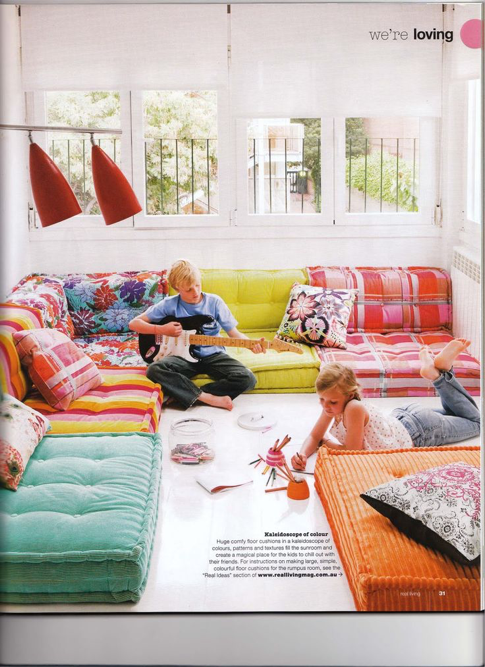 Great Idea For A Lounge Area For Kids And Teenagers Low Cushion Sofa Living Room Seating Kids Room Design Floor Seating
