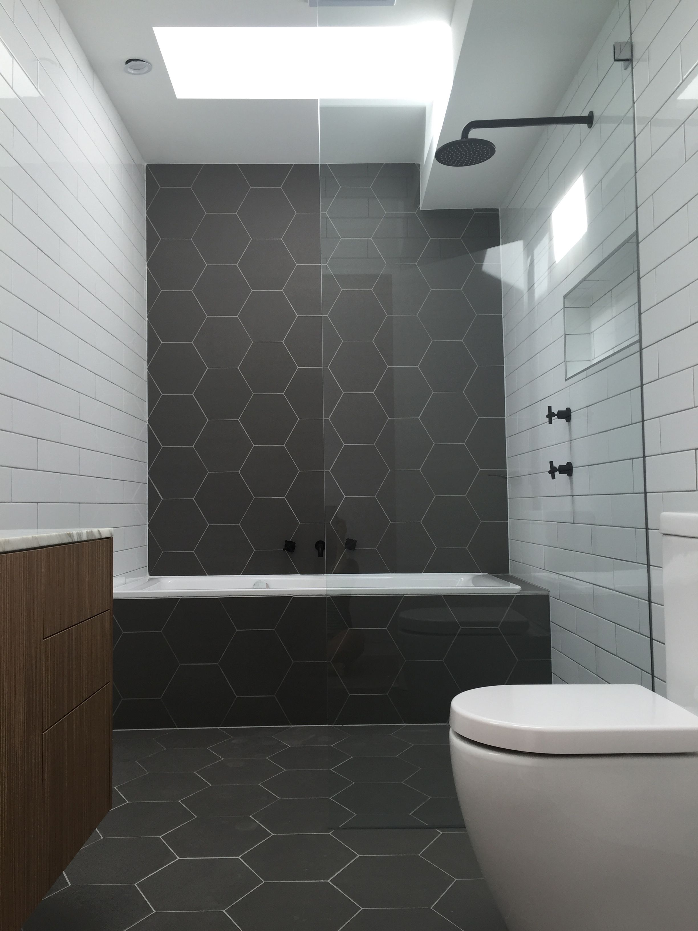 Hexagonal Tiles Monochrome Bathroom Matt Black Fittings Natural Zebrano Bathroom Cabinet Bathroom Interior Black Tile Bathrooms Monochrome Bathroom