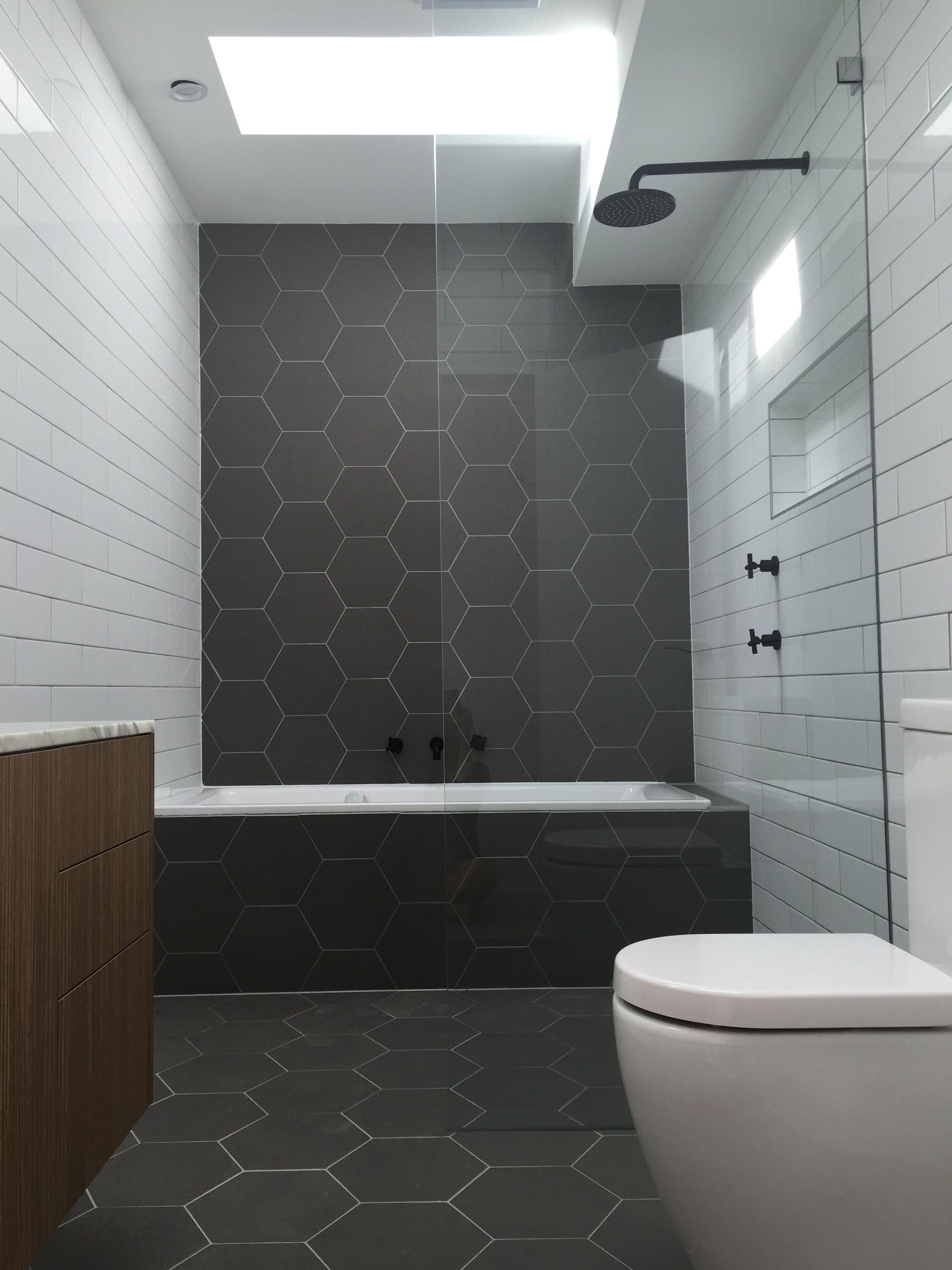 Hexagonal tiles. Monochrome bathroom. Matt black fittings ...
