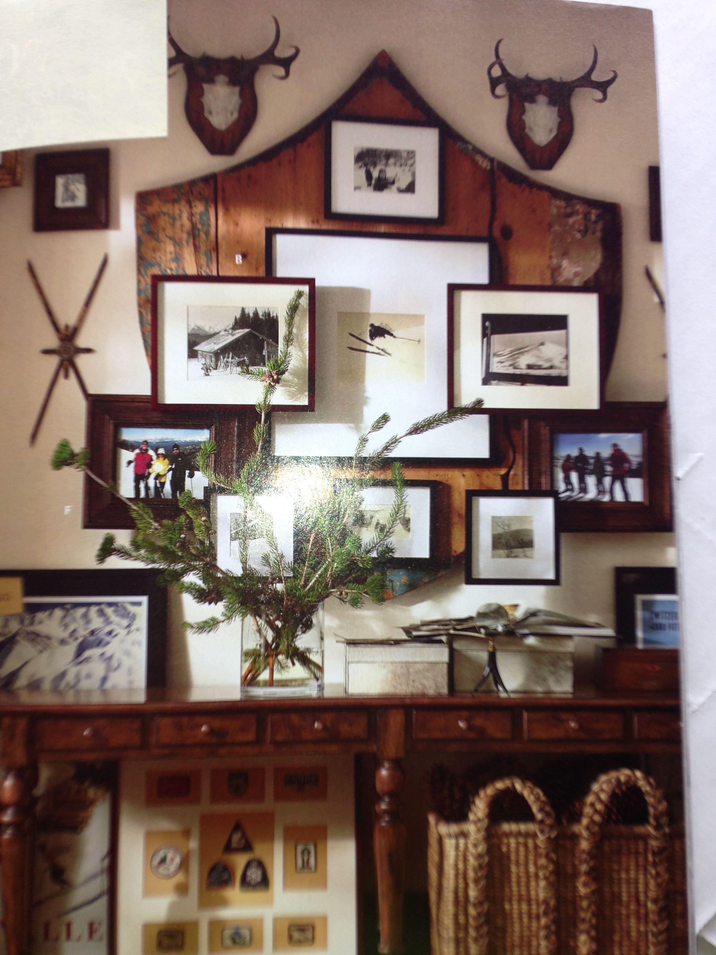 Cabin Wall Collage Lodge Decor Ski Lodge Decor Wood Gallery Frames