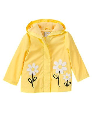 Yellow Childrens rain Gear Childrens Raincoat//Flower
