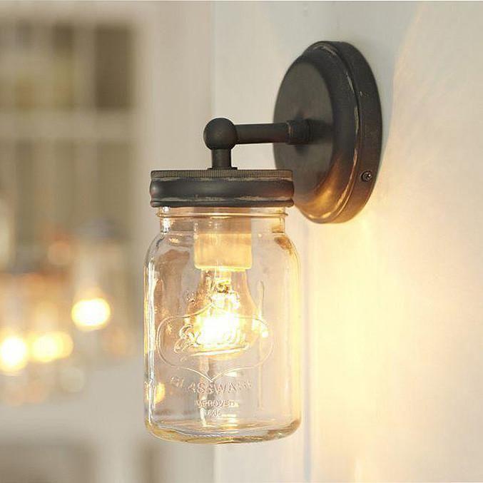 Vintage Mason Jar Wall Sconce Light Bed Light Brass Bronze Rustic Wall Lighting Mason Jar Sconce
