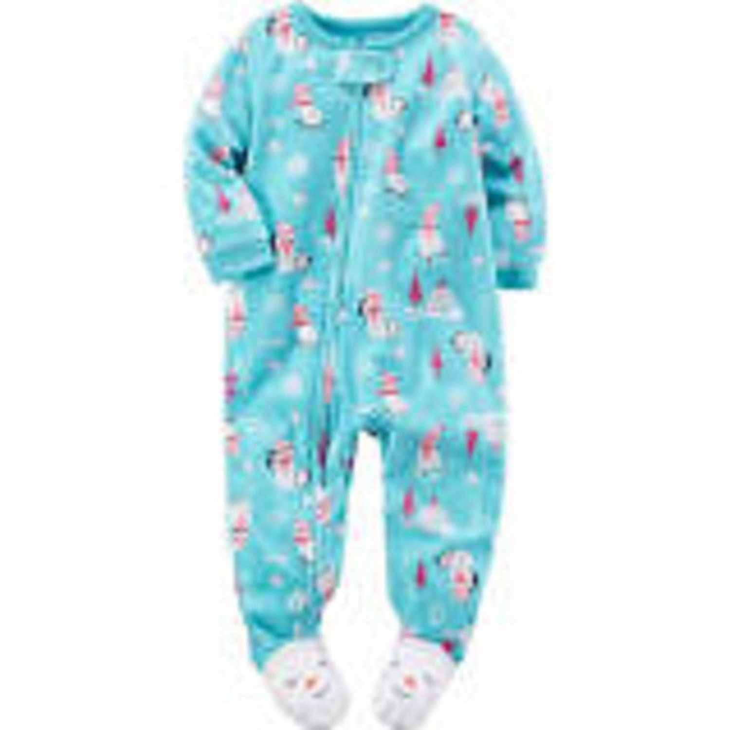 68f4b75f0 Carter's Girls Size 6 Months Snowman & Penguin Fleece Footed Sleeper, Blue